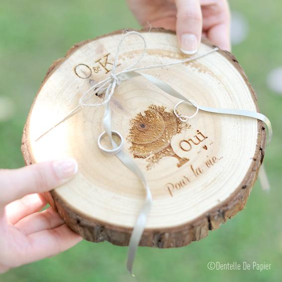 Porte alliances rondin de bois champ tre dentelle de papier - Porte alliance champetre ...