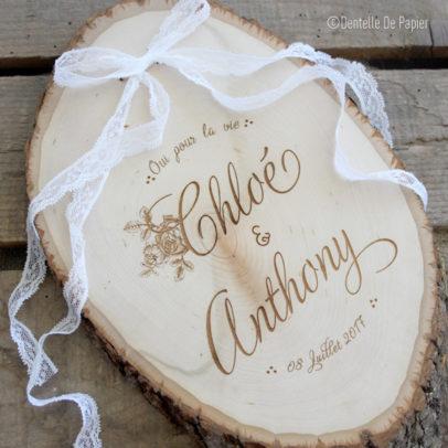 Porte alliances rondin de bois vintage chic dentelle de papier - Porte alliance en bois ...