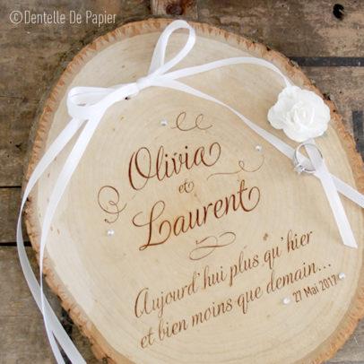 Porte alliances rondin de bois boh me strass dentelle de - Rondin de bois mariage ...