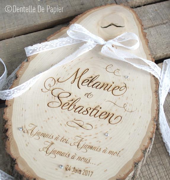 Porte alliances rondin de bois boh me strass dentelle de papier - Porte alliance en bois ...