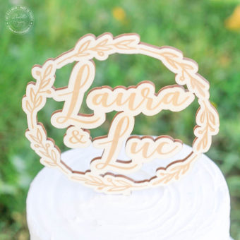 Cake-topper-bois-couronne-feuille-olivier